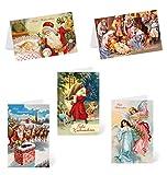 Kibano 10er Set hochwertige Weihnachtskarten | Grußkarten mit 5 Motiven + weiße Briefumschläge (Design No.3)