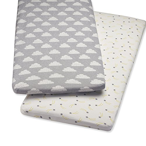 Snuz Bedside Crib Fitted Sheets, Pack of 2 – Cloud Nine
