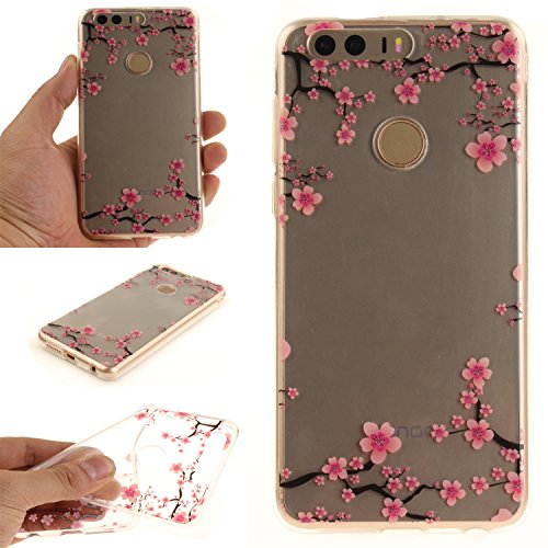 Price comparison product image For Huawei Honor 8 Case Cover, Ecoway TPU Clear Soft Silicone Back Colorful Hollow Floral Printed Pattern Silicone Case Protective Cover Cell Phone Case for Huawei Honor 8 - Plum