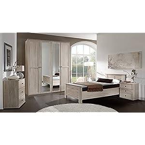 lifestyle4living 3-TLG. Komfortschlafzimmer in Eiche sägerau-Nachbildung, Kleiderschrank B: 180 cm, Kompaktbett Liegefläche 100 x 200 cm, Nachtschrank B: 52 cm