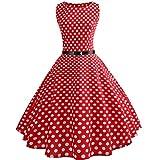 Neun Vintage Kleid,Yesmile Jahre Kleider Damen Polka Dots Solide Kappen Hülse Retro Vintage Sommerkleid Rot Sexy Party Picknick KleidRundhals Abendkleid Prom Swing Kleid (M, Rot-1)