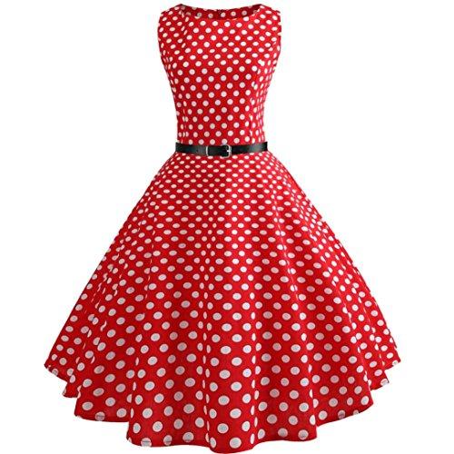 �Yesmile Jahre Kleider Damen Polka Dots Solide Kappen Hülse Retro Vintage Sommerkleid Rot Sexy Party Picknick KleidRundhals Abendkleid Prom Swing Kleid (S, Rot-1) ()