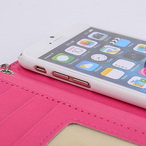"""inShang iPhone 6 Plus iPhone 6S Plus Coque 5.5"""" Housse de Protection Etui pour Apple iPhone 6+ iPhone 6S+ 5.5 Inch, Coque Avec Elégant Boucle + Pochette + GRID PATTERN + HAND STRAP, Cuir PU de premier hadbag rose"""