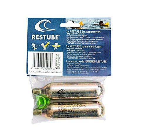 Restube 2X CO2 Kapseln für Schwimmboje aufblasbar & Notfall Schwimmhilfe