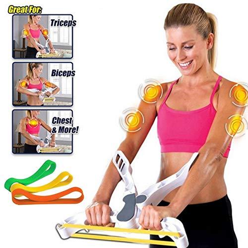 Letton Armtrainingsgerät für Frauen mit 3 elastischen Widerstandstrainingsbändern, Fitness-Trainingssystem für den Oberkörper zu Hause, Armtrainingsgerät, Kräftigt die Arme, Bizeps, Schultern, Brust