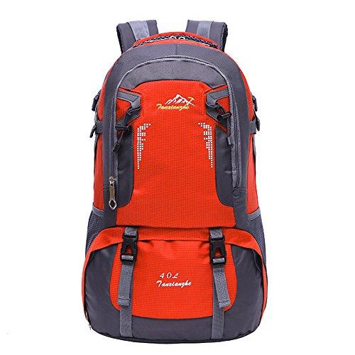 LINGE-Outdoor-Bergsteigen Tasche wasserdicht Freizeit Umhängetaschen für Männer und Frauen 40L Orange