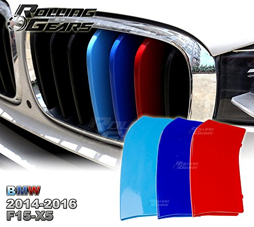 rolling-gears-m-colored-centre-kidney-grill-cover-cap-inserts-trim-for-bmw-f15-x5-exact-directly-fit