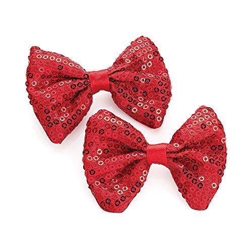 Paar Rot Pailletten Schleife Motiv Schnabel Haar bedeckt Clips (Glitter Haar Bögen)