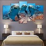 hhlwl Dipinto a spruzzo della casa della tela di canapa Pittura animale moderna del muro del delfino delle stampe di arte di schiocco Moderna appendere le immagini-10x15/20/25cm-frame