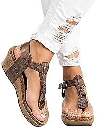 Sandales Compensées Femme Plateforme Cuir Bout Ouvert Bohême Romaines Espadrilles Chic Flip Flop Plage Legere Été Dames Chaussure Noir Beige Marron 35-43