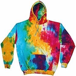 Colortone Hombres del arco iris Tie-Dye Sudadera con capucha