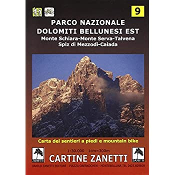 Parco Nazionale Dolomiti Bellunesi Est. Monte Schiara, Monte Serva, Talvena, Spiz Di Mezzodì, Caiada 1:30.000