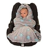 HOPPEDIZ Fleece-Decke für 3 & 5 Punkt-Gurtsysteme Einschlag-/Auto-/Krabbeldecke grau/türkis mit Sternen