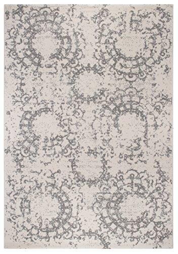 andiamo Teppich Puerto Webteppich Designteppich Kurzfloorteppich Musterteppich – geeignet für den Wohnbereich – Polypropylen-schadstofffrei – 120 x 170 cm, Creme