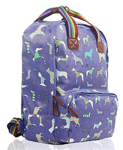 Kukubird Divers Chien Caniche Teckel Papillon Oiseau Chat Toile Imprimé Floral Laptop Backpack Sac À Dos Avec Sac À Poussière Kukubird Various Dogs - Purple
