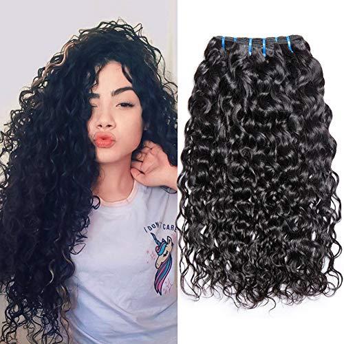 Musi Brazilian Hair Water Wave 3 Bundles Grade 8A Wavy Virgin Brasilianischen Echthaar 16 18 20 Inch human hair bundles Natural Black 95-100g/pc (Hair Halloween Günstige Extensions Für)