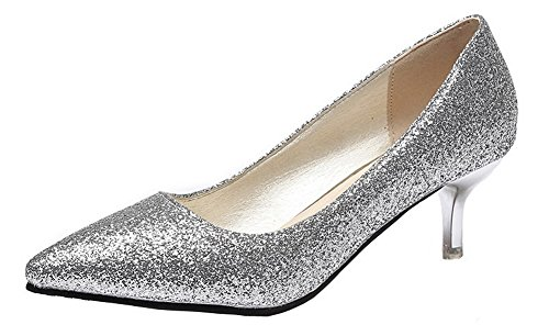 AgeeMi Shoes Damen Rein Ziehen auf Pailletten Mittler Absatz Pumps Schuhe,EuD63 Silber 40