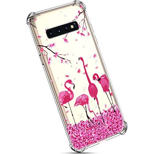 YSIMEE Compatibile Cover Samsung Galaxy S10 Custodie Trasparente Morbida TPU Ultra Leggere e Chiaro [Tecnologia Air Cushion] Silicone Slim Antiurto Anti-Graffio Sottile Protezione Case,Fenicottero