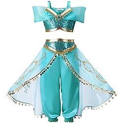 Pettigirl Niña Azul Lentejuela Clásico Princesa Vestirse Disfraz Equipar Shimmer and Shine, 140cm