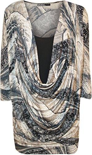 WearAll - Taille Plus Imprimer col bénitier manches courtes Insérer Top - Hauts - Femmes - Tailles 42 à 56 Pierre