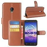 HualuBro Alcatel U5 HD Hülle, Leder Brieftasche Etui Tasche Schutzhülle HandyHülle [Standfunktion] Leather Wallet Flip Case Cover für Alcatel U5 HD (Braun)