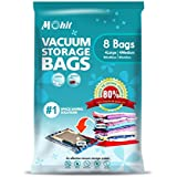 Vacuum Storage Bags - 8 bags in a pack (4 Large (100x80cm) + 4 Medium (80x60cm) Max Space Saver Bags for Baby Clothes, Duvets, Bedding, Pillows, Blankets, Curtains.