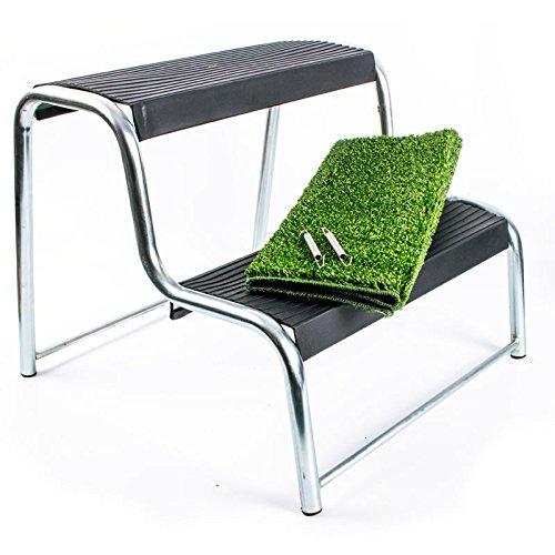 Preisvergleich Produktbild Doppeltrittstufe für Wohnwagen und Wohnmobil mit Antirutschbelag - 48 x 44 x 37 cm inkl. Fußabstreifer