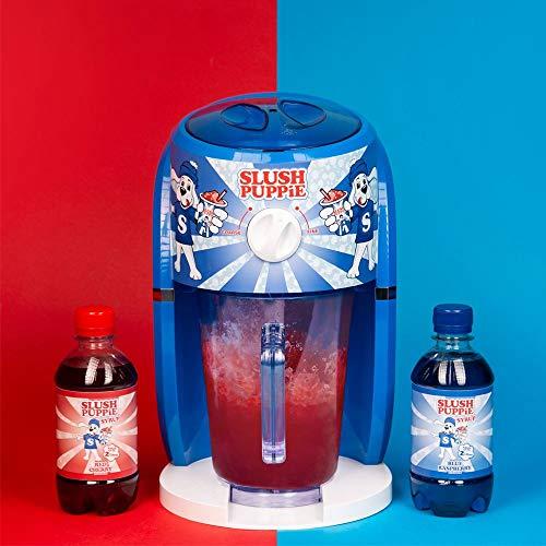 Slush Puppie Slushie-Maschinen-Set, Blauer Himbeersirup, roter Kirschsirup und 4 Pappbecher und Strohhalme.