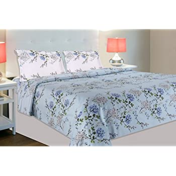 haus & kinder Victorian Summer Dream 100% Cotton Double Bedsheet with 2 Pillow Covers, 186 Thread Count, Size 100 inch by 90 inch (Blue)
