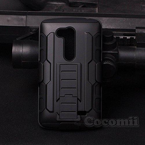 Cocomii Robot Armor LG L Fino/G2 Lite Hülle [Strapazierfähig] Erstklassig Gürtelclip Ständer Stoßfest Gehäuse [Militärisch Verteidiger] Ganzkörper Case Schutzhülle for LG L Fino (R.Black)