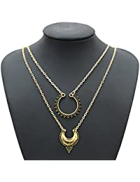 Bold N Elegant Antique Gold Plated Multilayer Crescent Pendant Choker Charm Necklace For Women