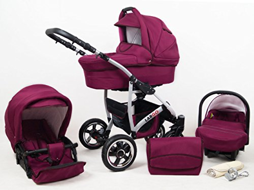 +++ SALE Raff Largo System Kinderwagen Babywagen Buggy, Autositz Kinderwagen System 3 in1 + Wickeltasche + Regenschutz +Insektenschutz (Set 3w1: Wanne + Sportsitz + Babyschale, burgund)
