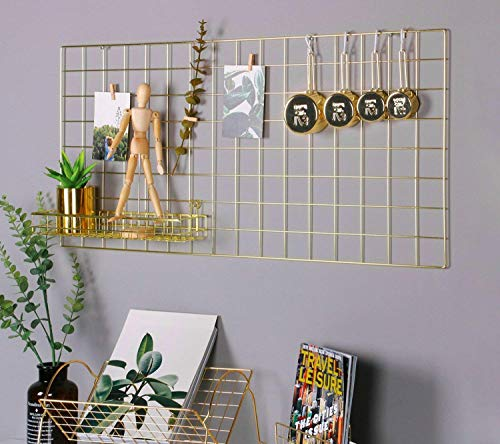 o Wall Multifunktions Draht Mesh Display Panel Dekorative Eisen Rack Clip Foto Wand aufhängen Bild Wand Fashion Art Display & Organizer Gold, 17.7 x 37.4 ()
