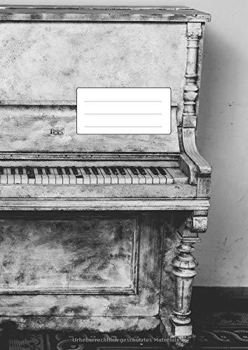 NOTENHEFT DIN A4 BLANKO - Klavier Motiv: 110 Seiten | 55 Blatt | Musik Unterricht Komposition | Schule + Studium | 12 Systeme mit Seitenzahlen