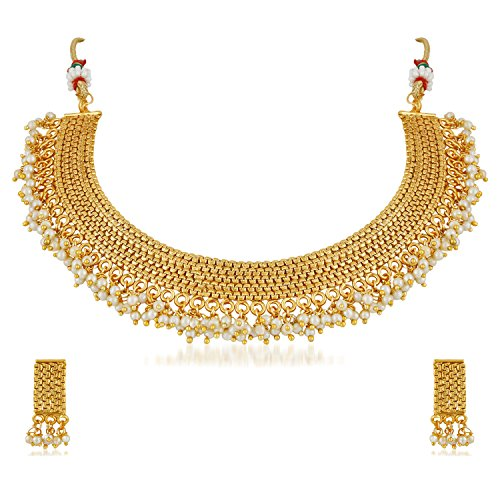 Apara South Traditional Copper Necklace Jewellery Set Pearl for Women