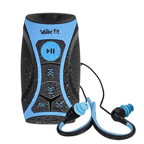 Walkerfit Wasserdichter Stream MP3-Player mit UKW-Radio und Unterwasserkopfhörer für Schwimmrunden, Wassersport, Kurzschnur, 8 GB