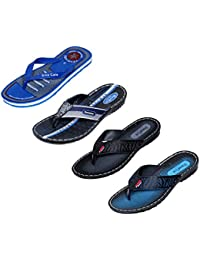 Indistar Men Flip Flop House Slipper And Sandal-Blue/Blue/Black/Blue