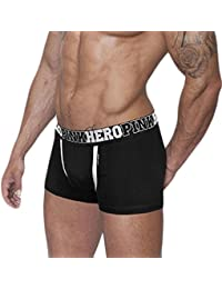 Fulltime/® PINK Hero Mens Solid Color Cotton Boxer Shorts Fitness Underwear