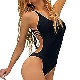 Femmes Maillot De Bain Une Pièce Bandage Bikini Push-Up Rembourré Maillot De Bain Dos Nu Swimwear plage GongzhuMM (SEXY NOIR, S)