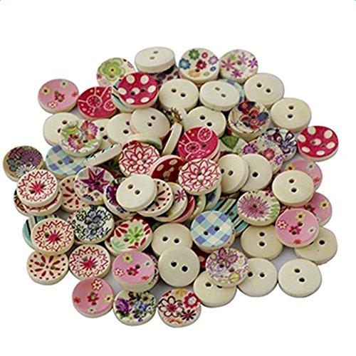 Lumanuby 100x Dekorativ Knopf aus Holz Botton Bunte Malerei von verschiedenen Arten von Blumen Muster Knöpfen Durchmesser 1.5cm, Praktisch Bekleidungs Zubehör für DIY, Handwerk /Kleidung/Tasche