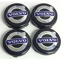 4 x Volvo Alloy ruedas Centro Hub Caps 64 mm Negro/Azul C70 S60 V60