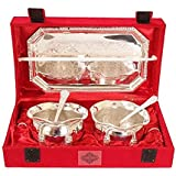 Cameo Brass Silver And Gold Plated Floral Shaped Brass Bowl And Tray Set - B07BGXKWJL