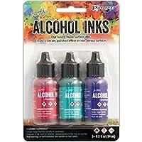Tim Holtz Alcohol Ink .5oz 3/Pkg-Beach Deco-Flamingo/Patina/Amethyst