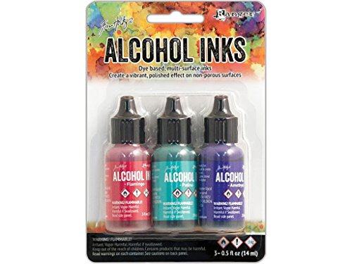 Tim Holtz Alcohol Ink .5oz 3/Pkg-Beach Deco-Flamingo/Patina/Amethyst