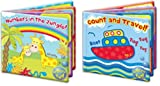 Baby Bath Books Plastic Coated Fun Educational Learning Toys for Toddlers & Kids (Set of both Books) first steps Bath Time Picture Book for Babies; Numbers in the Jungle and Count and Travel