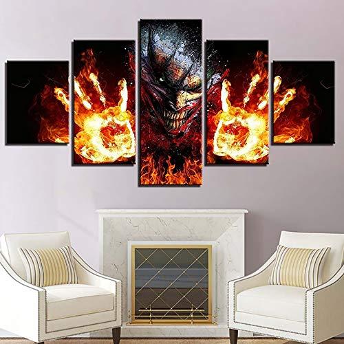 Drucke auf Leinwand Kunstwerk 5 Panels Abstrakt Feuerpalme Bild Wandkunst Giclee Zum Zuhause Büro Dekorationen,A,30×40×2+30×60×2+30×80×1