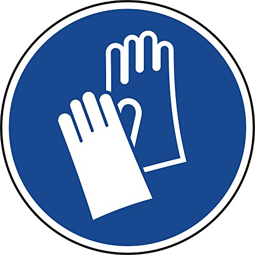 Preisvergleich Produktbild Gebotszeichen - Handschutz benutzen - Ø 30 mm - 12 Gebotsschilder aus Polypropylen Folie, blau, permanent haftend