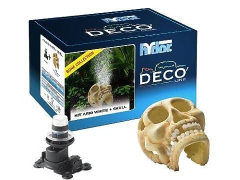 Hydor Deco Bone Collection Aquarium Ornament, Human Skull with Ario 2 Moonlight, White Air Bubbles by Hydor