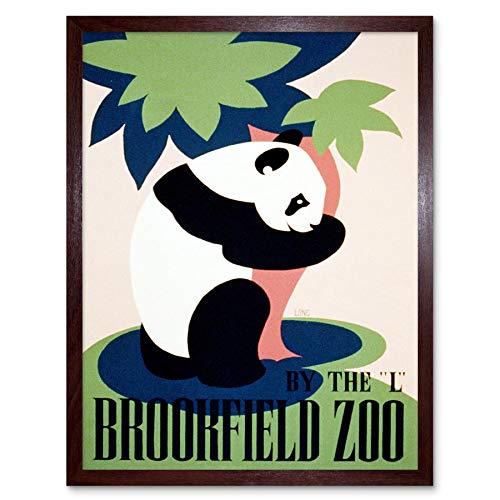 Wee Blue Coo LTD Cultural Advert Brookfield Zoo Panda USA Vintage Art Print Framed Poster Wall Decor Kunstdruck Poster Wand-Dekor-12X16 Zoll