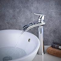 Cascada de baño Vessel fregadero cuerpo alto grifo, diseño moderno sola palanca agujero único, cromado, Beelee BL6775H